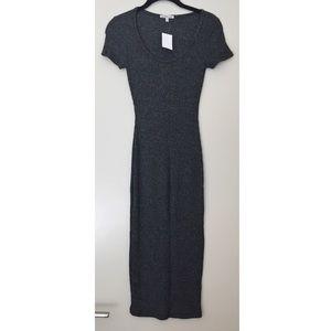 NWT Charlotte Russe Black Ribbed Midi Dress